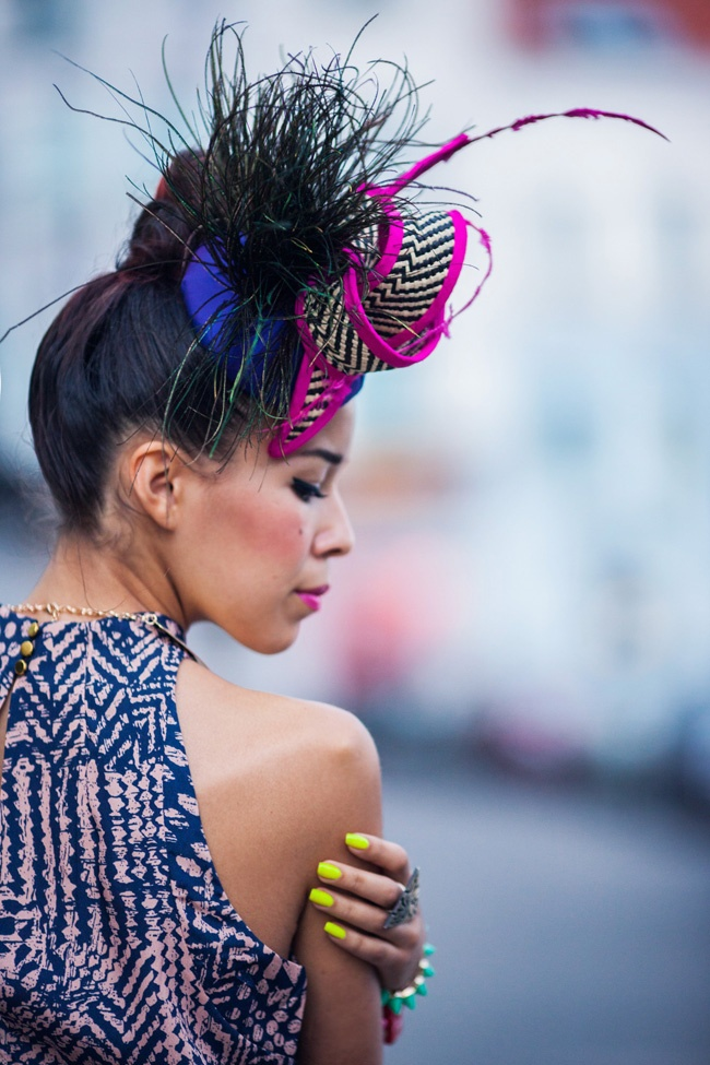 Tamara Gonzales Perea otherwise known as fashionista blogger, Macadamian Girl.  Vibrant self-expression through personal style. Adore. hat: Ella Gajewska HATS
