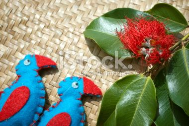 New Zealand Christmas; Pukekos, Kete and Pohutakawa Flower Royalty Free Stock Photo