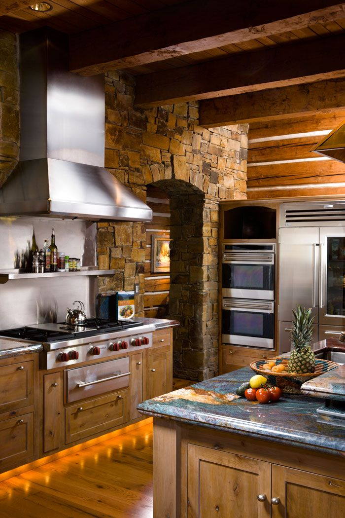 Best 25 log cabin kitchens ideas on pinterest cabin for Cabin kitchen cabinets