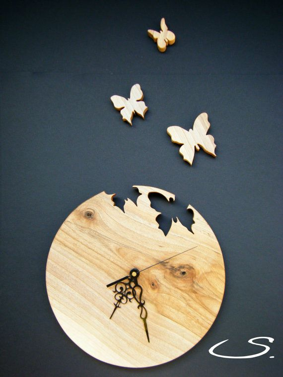 Wooden Walnut Wall Modern Clock with Butterflies by svetll79                                                                                                                                                                                 More