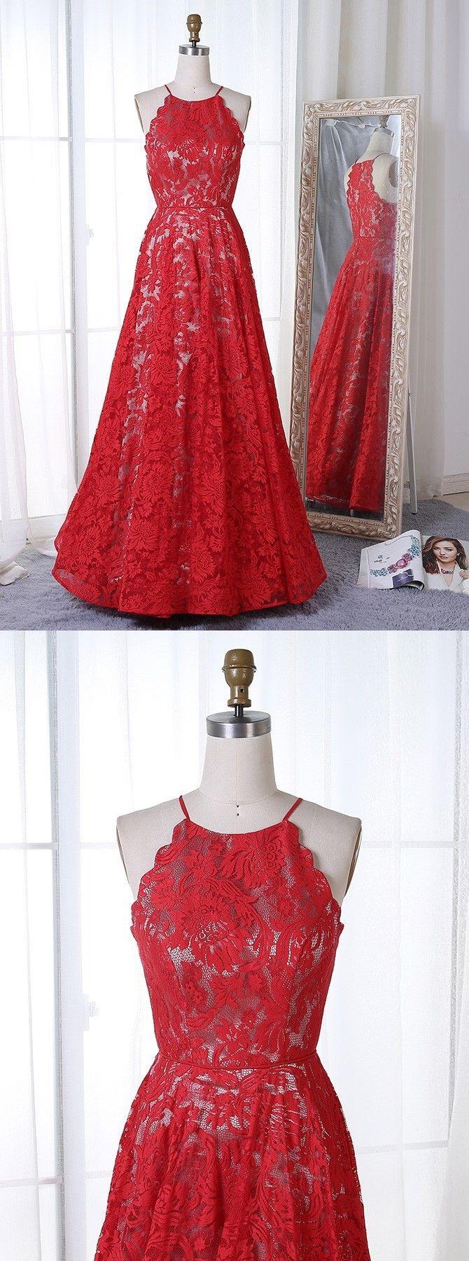 elegant red lace formal dresses, modest halter evening gowns, #eveninggowns #dresses