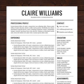 Free cv template word 25 pinterest instant download resume template cv template for ms word the claire yelopaper Images
