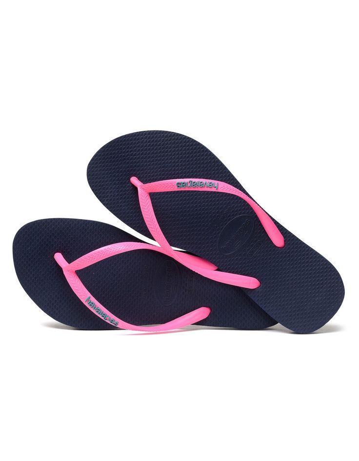 Havaianas Navy/Pink Slim Logo Pop Up Flip Flops | Accent Clothing