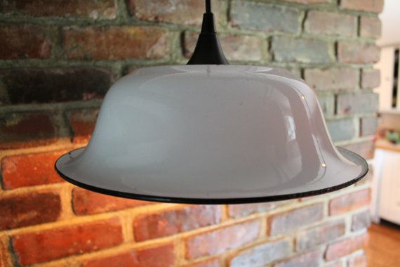 Enamel Bowl Hanging Light  Repurposed by NorthSouthSalvage on Etsy, $48.99