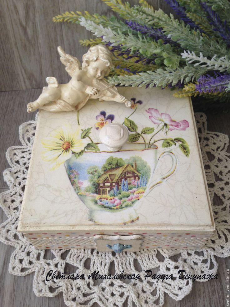 Купить деревянная шкатулка для чая хранение Цветы декупаж - слоновая кость бежевый, шкатулка для чая