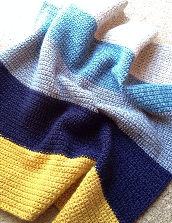 Modern Crochet Patterns For Baby Blankets : Crocheted Baby Blanket- Modern Stripe