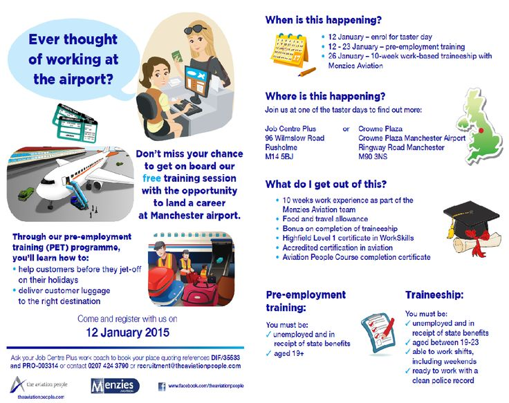 7 more days to go till our PET and taster day! If you are interested in working at Manchester Airport and want to gain a new qualification, please have look at our leaflet to see if you fit our criteria for our Pre-employment training and get in touch via the contact details outlined on leaflet.