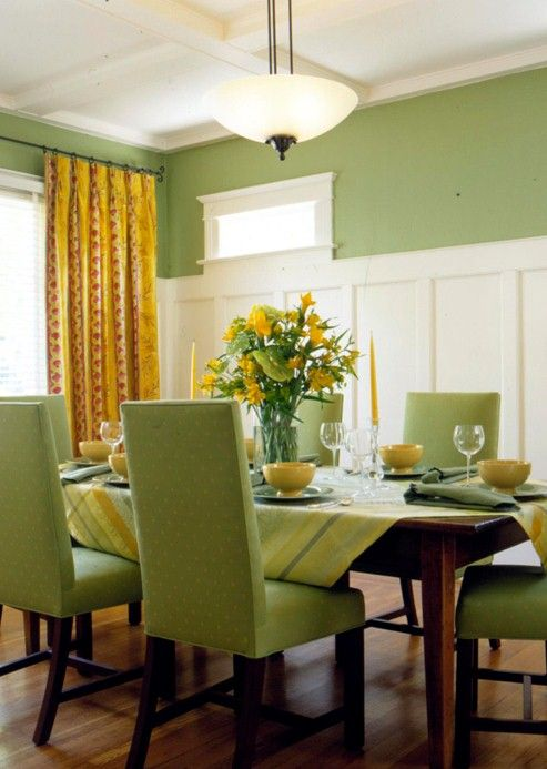 Molding Wainscoting In Green Dining Room