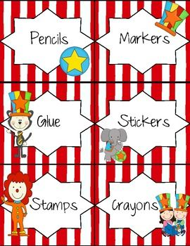 circus themed classroom | Circus Theme Classroom Labels - Megan Rogers - TeachersPayTeachers.com