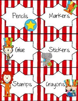 circus themed classroom | Circus Theme Classroom Labels - Megan Rogers - TeachersPayTeachers.com