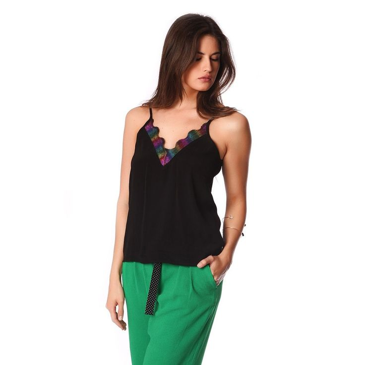 Black cami top with multi color cage detail