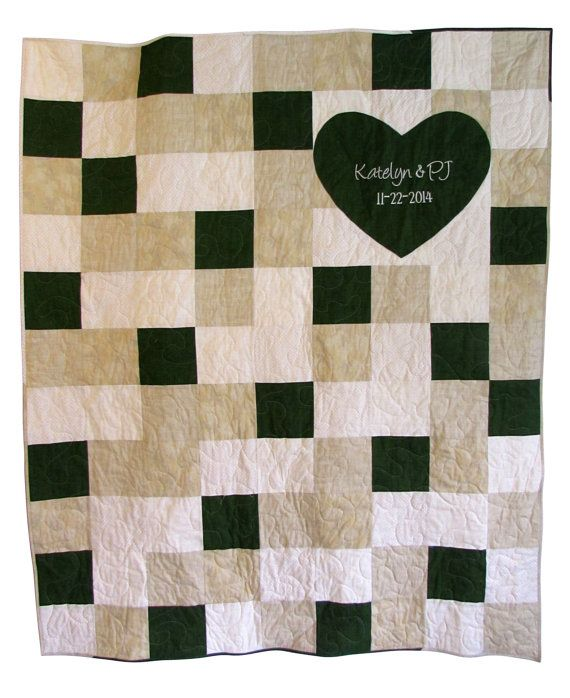 Signature Wedding Quilt Forest Green & Gray by HomeSewnStudio