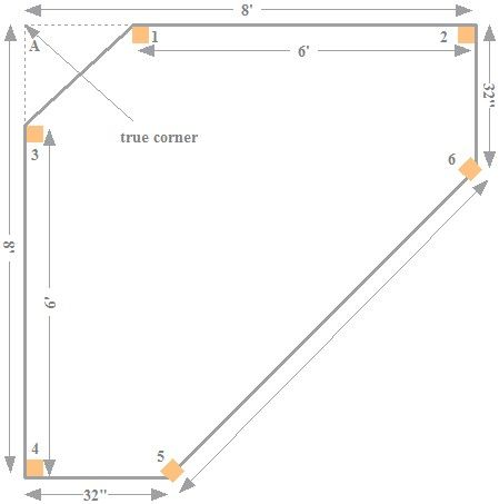 Copyright image: The Asian corner pergola footprint from the step-by-step pergola plans.