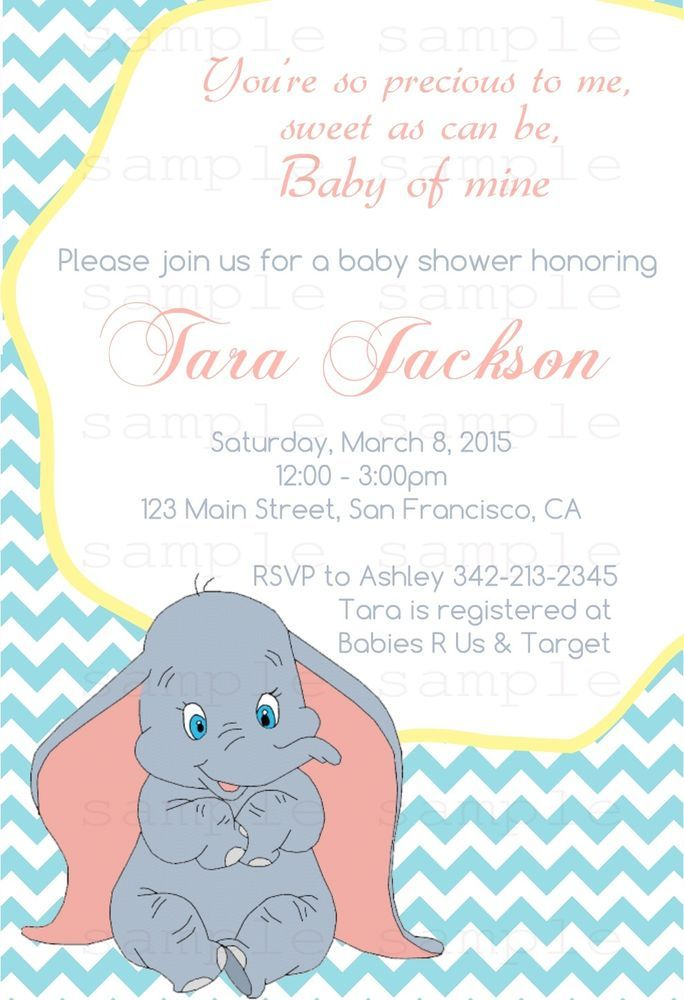 Dumbo Baby Shower Invitation - Custom Design - Printable - Digital - 4x6 $7.99