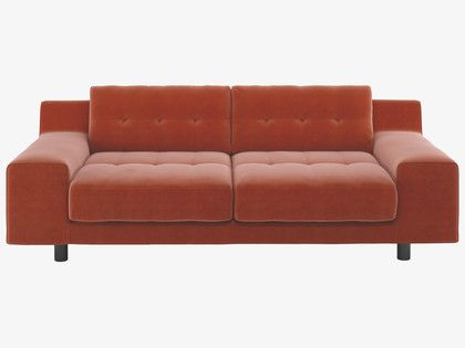 HENDRICKS Orange velvet 2 seater sofa