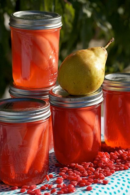 "Another pinner: ""Pears canned with Cinnamon Red Hots Candy.  Neat idea!""  I'd also like to do this with apples..."