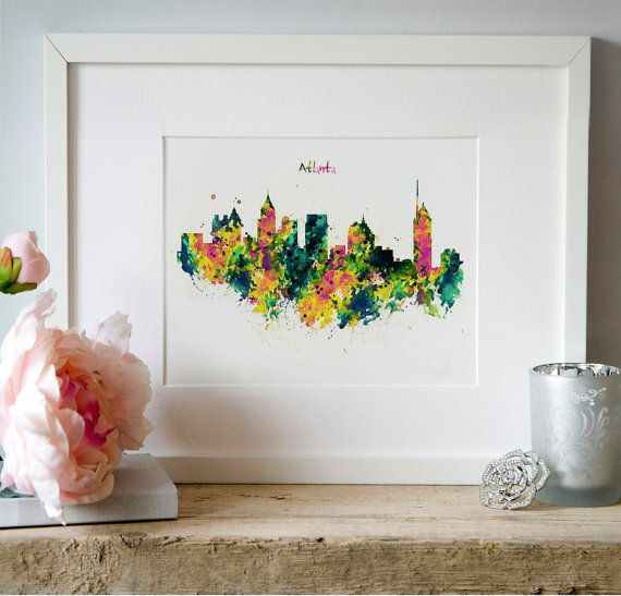 Atlanta Watercolor Skyline Wall art Instant by Artsyndrome on Etsy