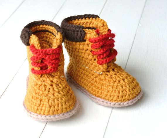 THIS LISTING IS FOR A PATTERN - NOT THE FINISHED BOOTIES***********  CROCHET PATTERN for super-cute Baby Booties in the Timberland Style - Just Like mummy and daddys Timberland boots only tiny - who could resist these winter or summer! Discounts offered for bulk purchases of patterns:- Any 2 patterns for $9.00 use code: 24NINE Any 3 patterns for $14.00 use code: 34FOURTEEN Any 4 patterns for $17.00 use code: 44SEVENTEEN Any 5 patterns for $22.00 use code: 54TWENTYTWO Any 6 patterns for…