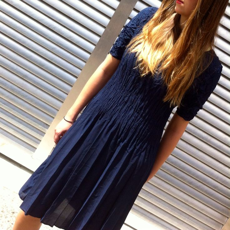 #Marden #dress #navy #pleat