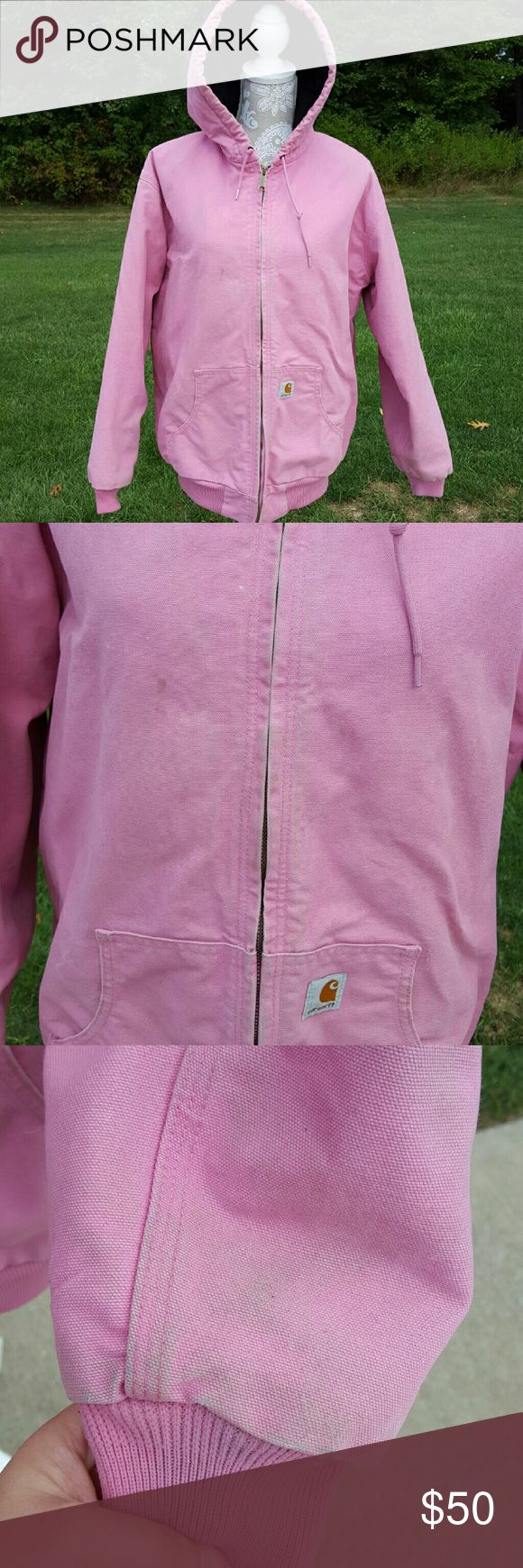 Pink Breast Cancer edition Carhartt winter jacket Has been worn Size X Large Long sleeves Hooded  Drawstring hood Fleece lined Zip up Flaw: does has some marks on it from wear ex. Coffee No Trades Carhartt Jackets & Coats
