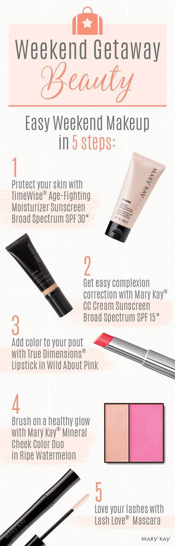 Ready to pack your makeup bag for a weekend getaway? From mascara to lipstick to sunscreen, these 5 travel must-haves will have you feeling gorgeous while on-the-go! | Mary Kay