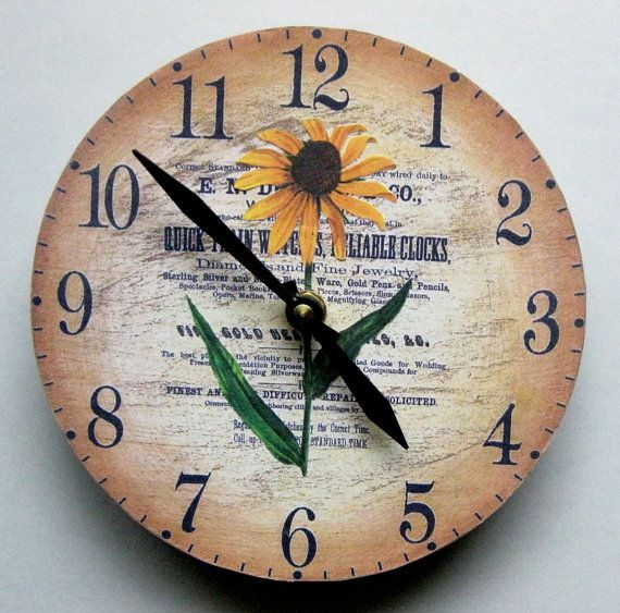 Shabby chic sunflower.  Decoupaged wall clock.