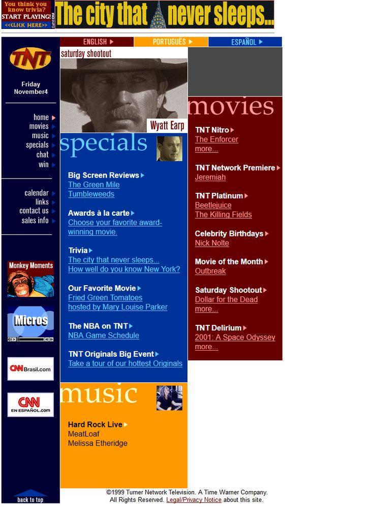 Turner Network Television website in 2000