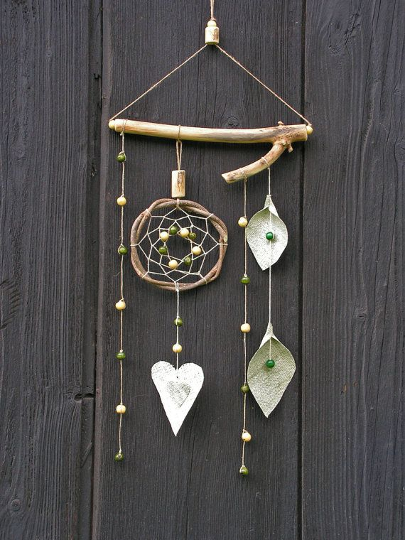 Natural rustic home decor - Inspired native American dream catcher -  - Linen heart, leaves - wood - dreamcatcher mobile on Etsy, $29.00