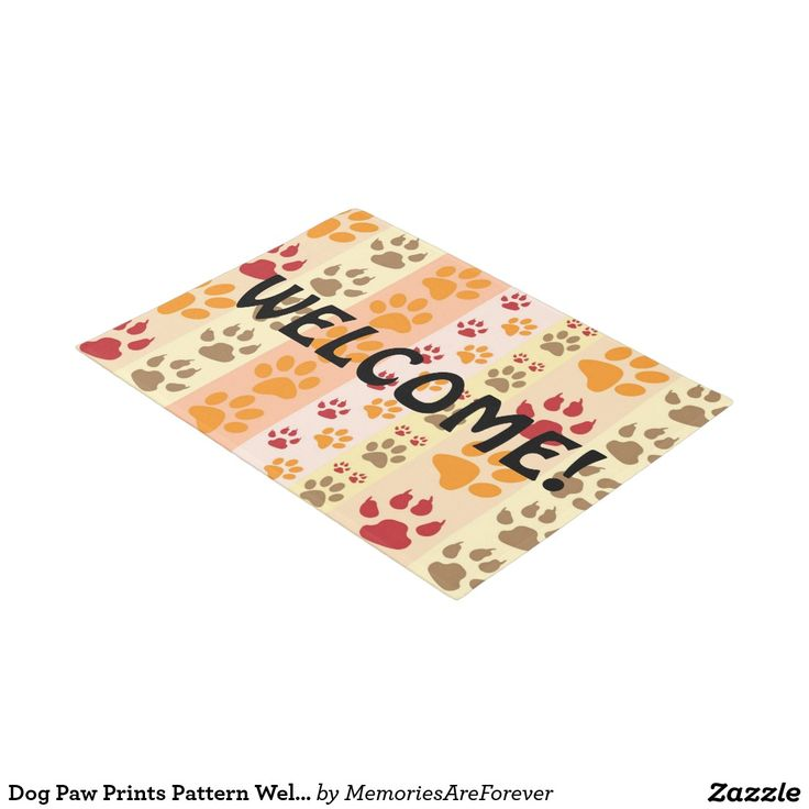 Dog Paw Prints Pattern Welcome Doormat