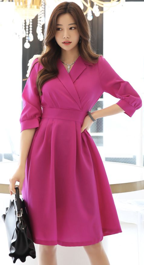 StyleOnme_Vivid Color Back Ribbon Tie Collared Dress #pink #purple #collared #dress #feminine #koreanfashion #kstyle #kfashion #springtrend #datelook