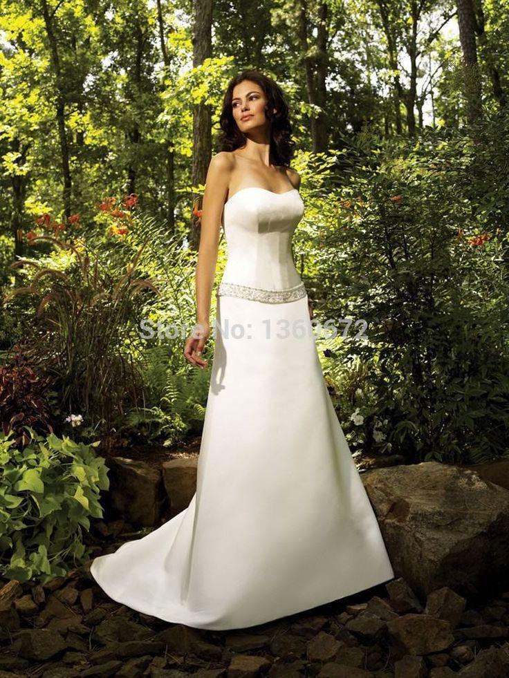 2016 урожай восхитительно простая инвалидов свадебные платья без бретелек бусины украшенные атласная свадебные платья