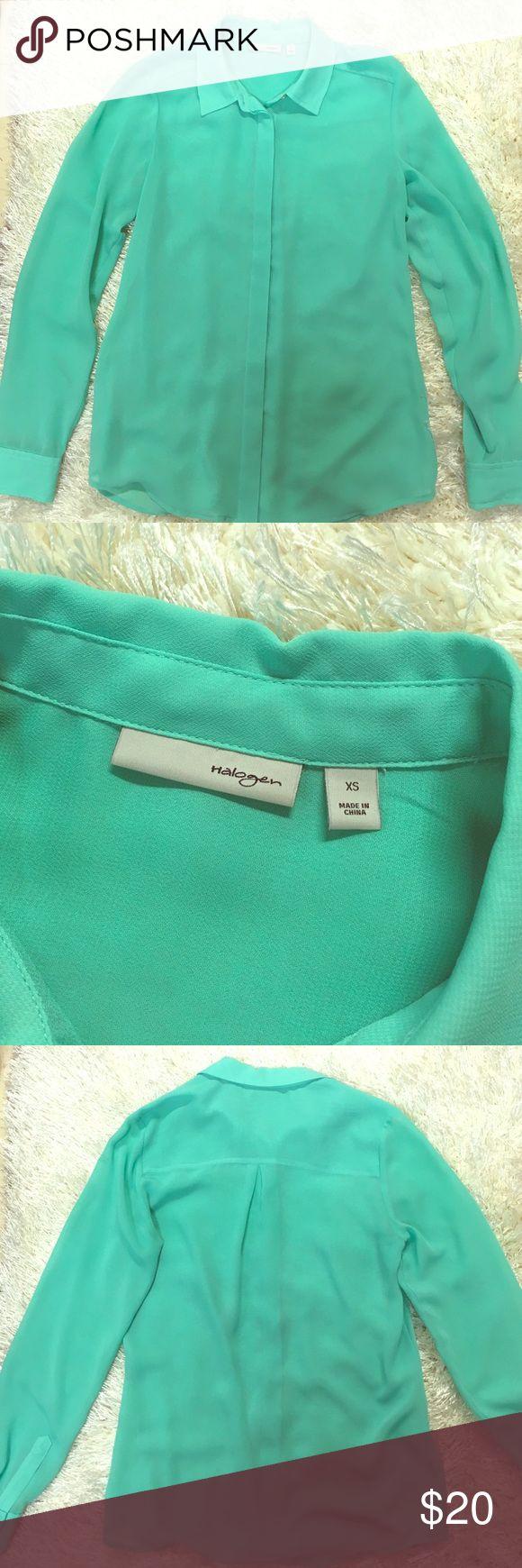 Halogen mint green button down sheer shirt Halogen mint green button down shirt, XS Halogen Tops Blouses