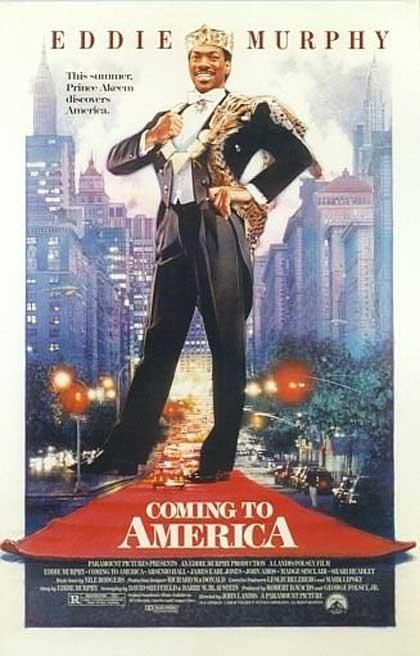 coming to america, eddie murphy, arsenio hall, poster, movie poster