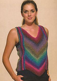 """Turnaround Vest"" Designed by Doreen L. Marquart. Knit with ""Silk Garden Lite"" from Noro Yarns."