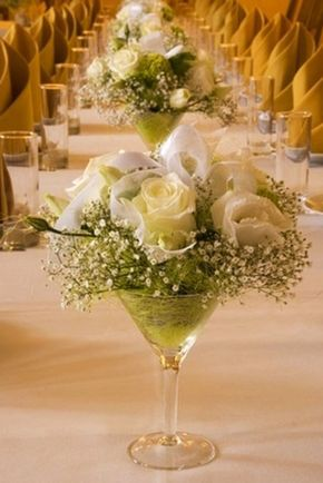 White Roses and Baby's Breath Centerpiece in Martini Glass