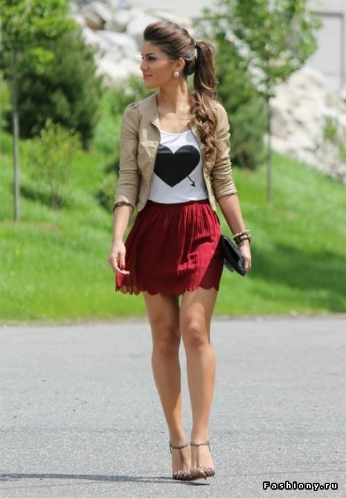 Heart tshirt, tan jacket and red skirt