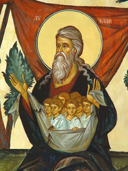 "must be ""The bosom of Abraham"" Heaven DIOS PADRE NOS REÚNE JUNTO A SU PECHO"