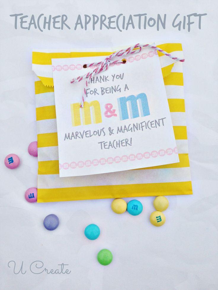 Simple Teacher Appreciation Treat - M&M Style! u-createcrafts.com