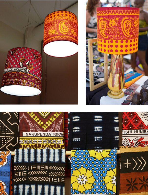 Primitive Modern Art - Khanga Cloth Lamps