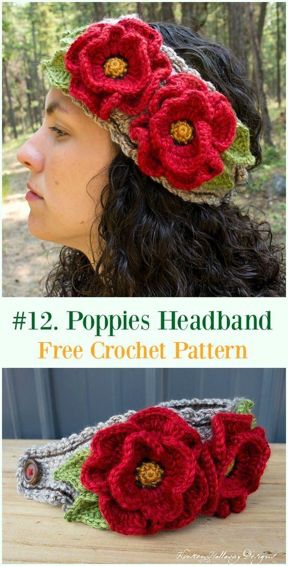 Crochet Poppy Flower Free Patterns Crochetknit Patterns Crochet