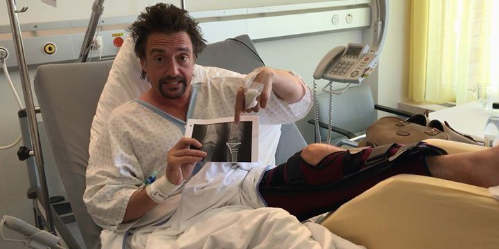 "Luckily, The Grand Tour's Richard Hammond looks fine in his Swiss hospital room, adding ""I've binned it, again."" http://www.roadandtrack.com/motorsports/a10005333/richard-hammond-not-seriously-injured-in-horrific-electric-supercar-crash/"