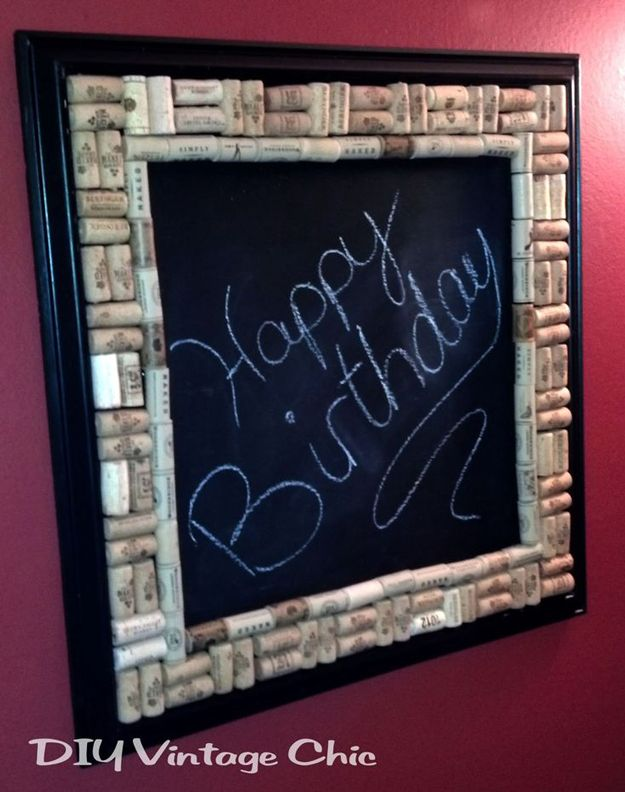 DIY Chalkboard with Wine Cork Border | Homemade Wine Cork Craft Frame by DIY Ready at  http://diyready.com/more-wine-cork-crafts-ideas/