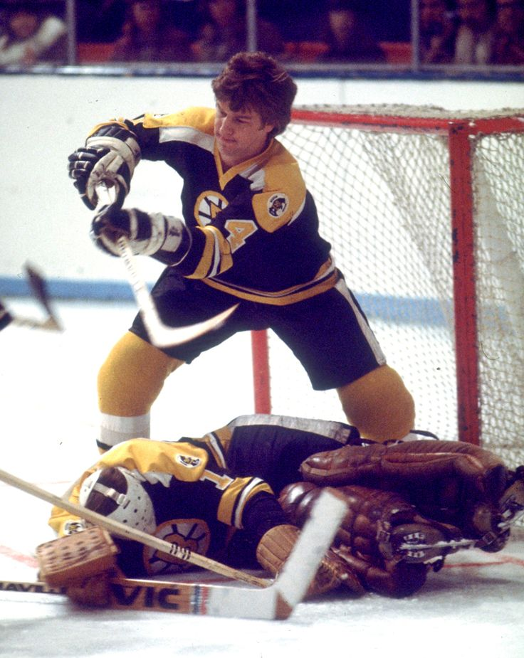 """""""Bobby Orr plays goal while Gerry Cheevers plays dead"""""""