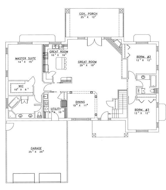 17 best ideas about ranch floor plans on pinterest ranch Open concept ranch home plans
