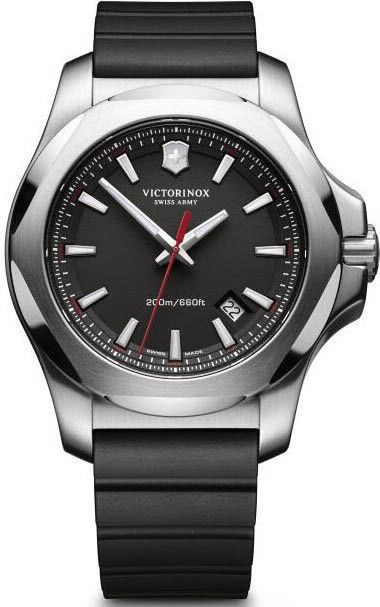 Victorinox Swiss Army Watch INOX Black #bezel-fixed #bracelet-strap-rubber #brand-victorinox-swiss-army #case-material-steel #case-width-43mm #classic #date-yes #delivery-timescale-call-us #dial-colour-black #gender-mens #movement-quartz-battery #official