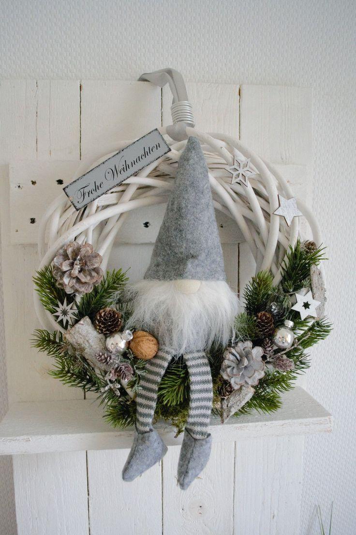Türkranz 36 cm Weihnachtskranz, Wichtel, Landhaus…
