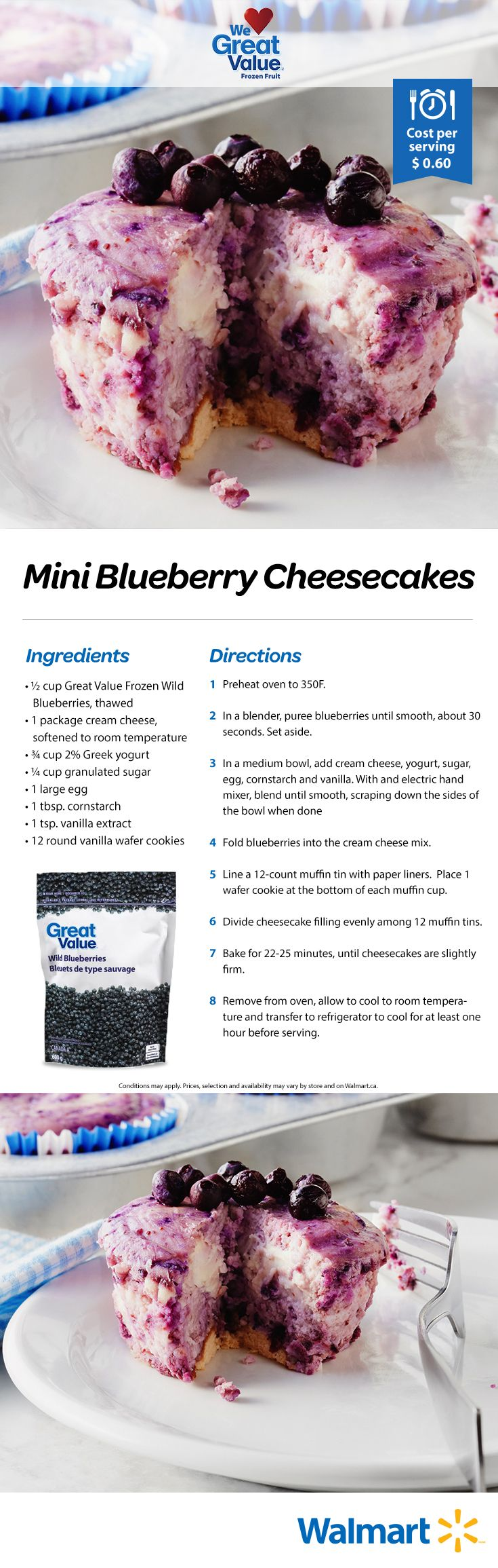 When you're in a dessert pinch, these mini cheesecakes are your go-to. Such simple ingredients can make really delicious desserts! Our trick is our Great Value frozen berries. #realsolutions #minicheesecakes #blueberrycheesecakes #cheesecakerecipes #WeLoveGreatValue