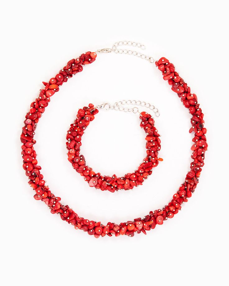 FABULOUS RED | set colier și brățară roșu