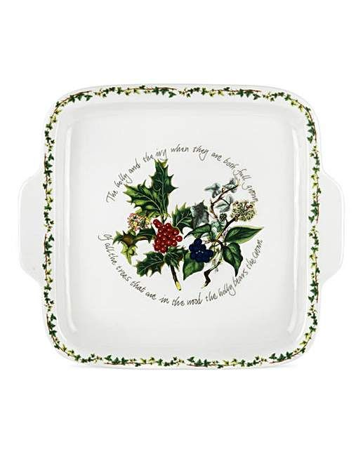 Holly & The Ivy Square Handle Cake Plate | Fifty Plus