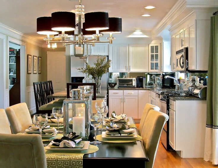 Best Dining Room Decorations With White Kitchen Cabinet